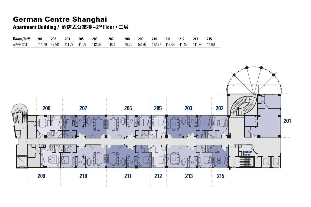 Floor plans of the german centre shanghai apartment for Building plans