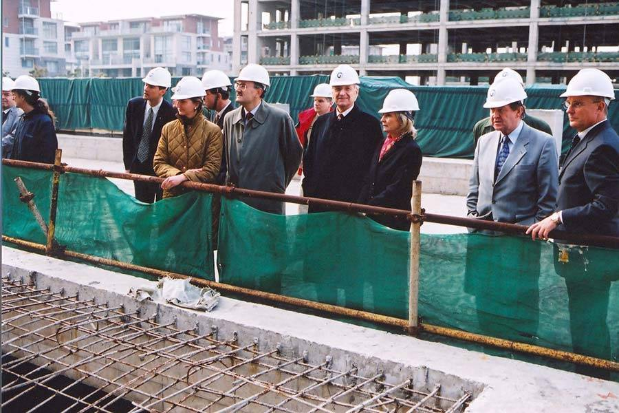 Edmund Stoiber's Visit to the Construction Site of the German Centre Shanghai